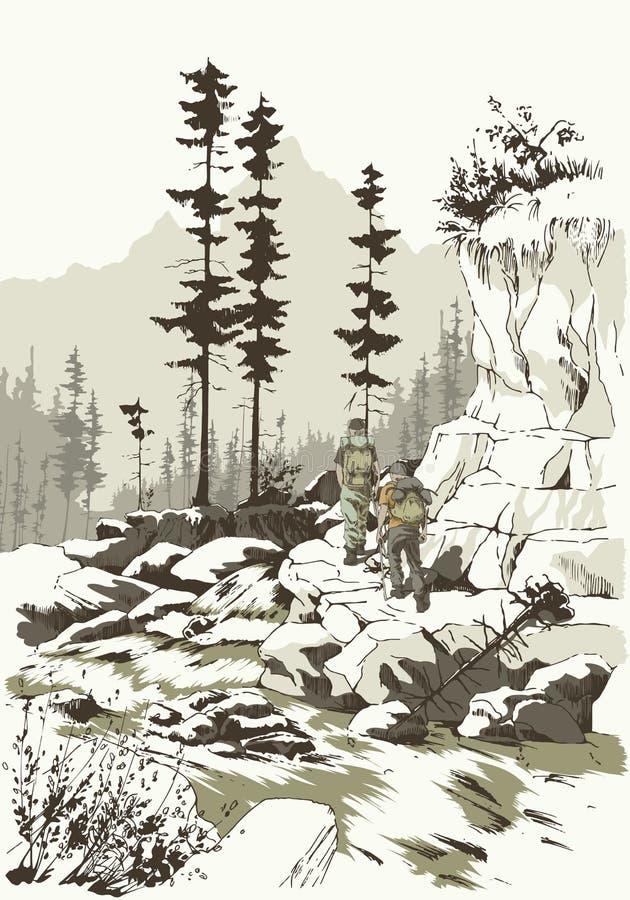 Hausse de montagne illustration de vecteur