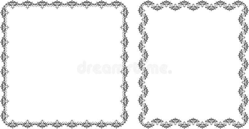 Deux trames décoratives. Noir d'isolement sur le blanc illustration libre de droits