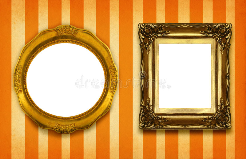 Deux trames dorées creuses images stock