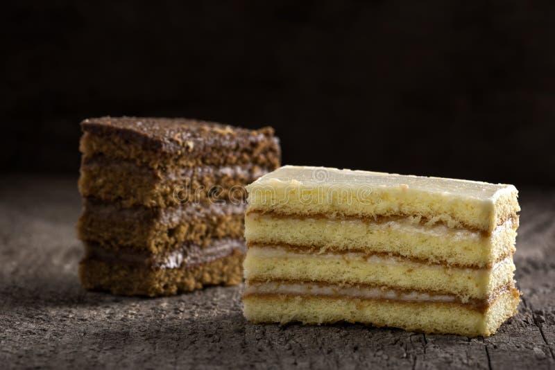 Deux tranche de gâteau, un avec de la crème de cacao et l'autre avec le vanil photographie stock libre de droits