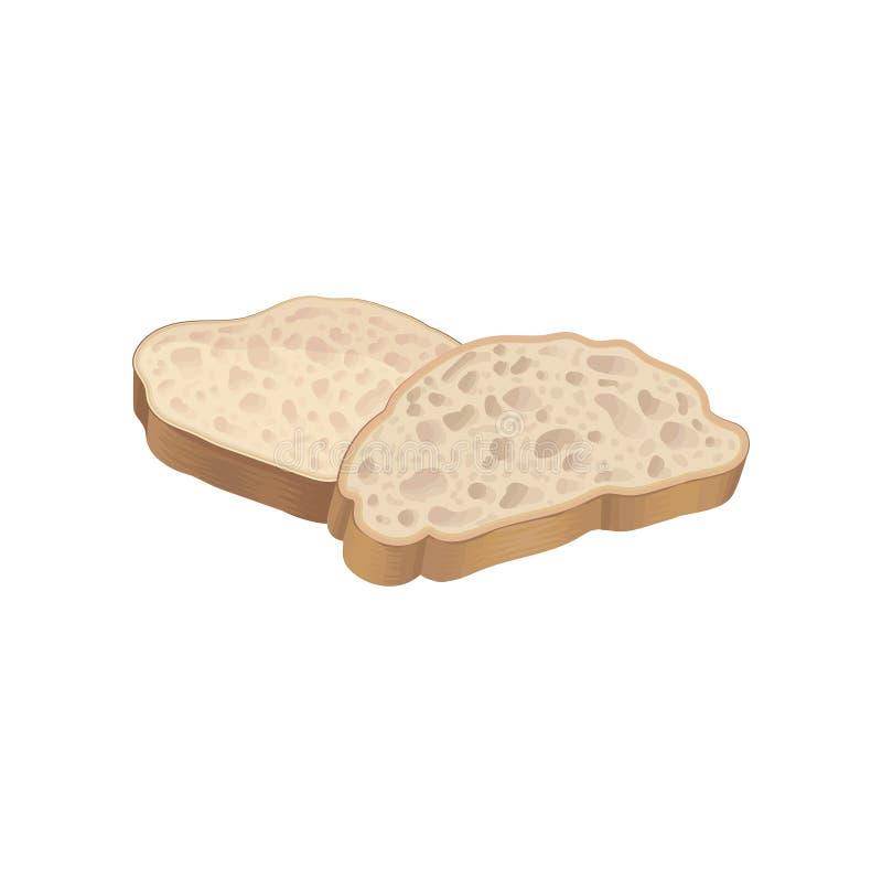 Deux tranches de blé frais détaillé ou de pain gris de pain Élément plat des produits de boulangerie pour l'affiche de boutique o illustration de vecteur