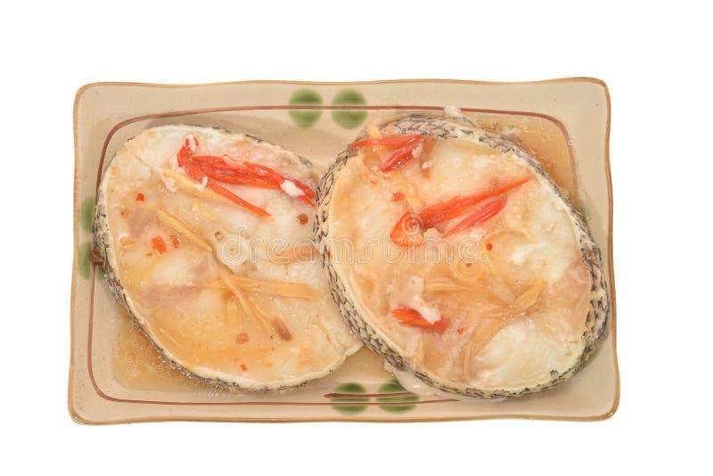 Deux tranches de poissons de vapeur photographie stock libre de droits