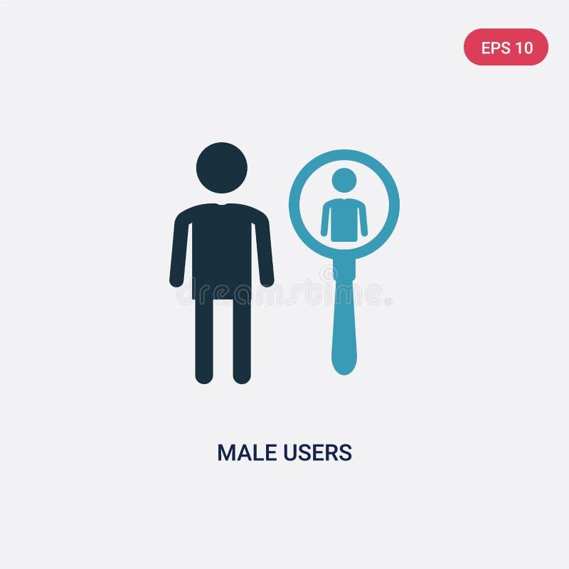 Deux utilisateurs masculins de couleur dirigent l'icône du concept de personnes le symbole masculin bleu d'isolement de signe de  illustration de vecteur