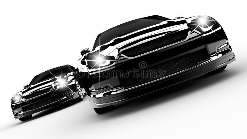 Deux véhicules noirs illustration de vecteur