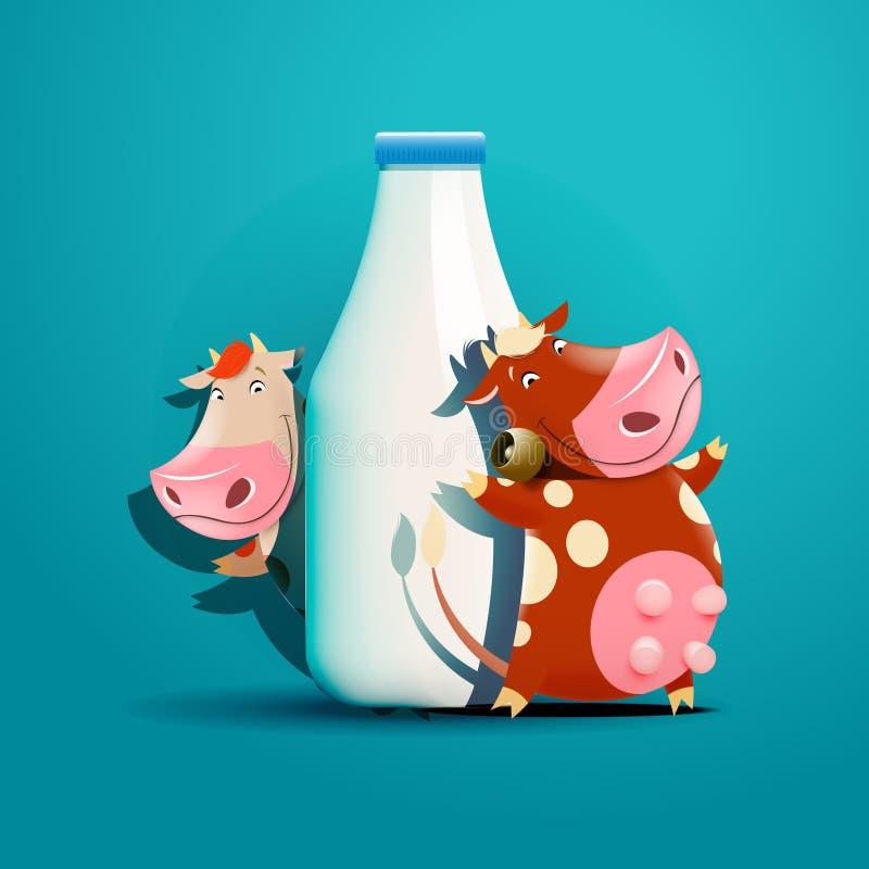 Deux vaches se tenant près de la bouteille de lait illustration stock