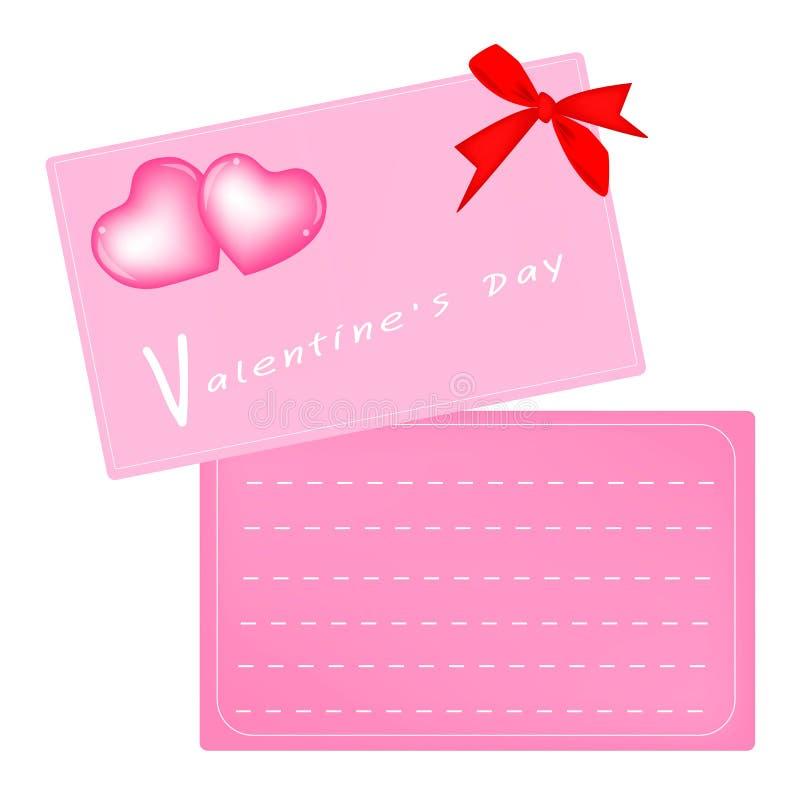 Deux Valentine Card rose avec le ruban rouge illustration libre de droits