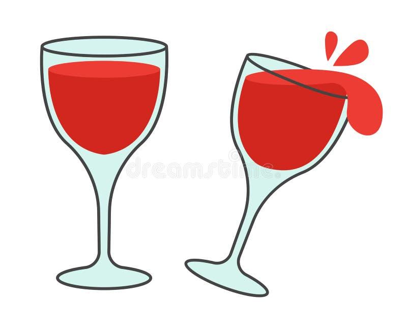 Deux verres avec les icônes plates de vecteur de vin illustration libre de droits