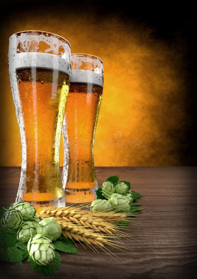 Deux verres de bière avec l'orge et les houblon sur la table - 3D rendent illustration libre de droits