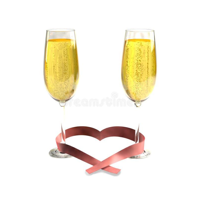 Deux verres de bon champagne et d'un ruban en forme de coeur illustration de vecteur