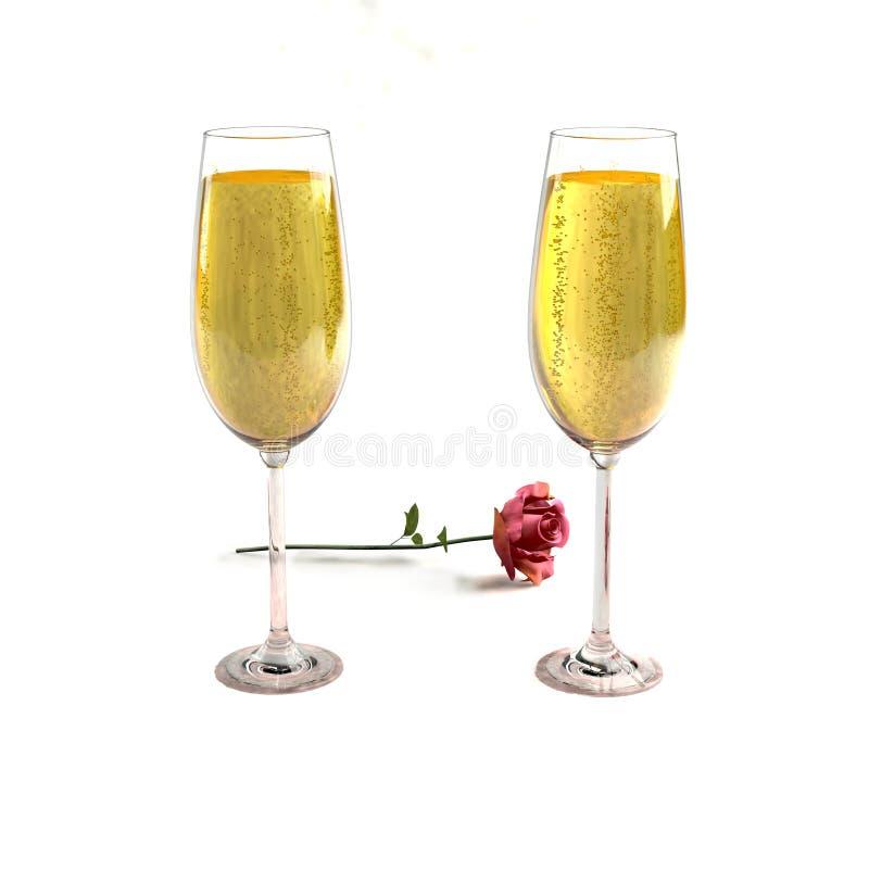 Deux verres de bon champagne et d'une rose illustration de vecteur