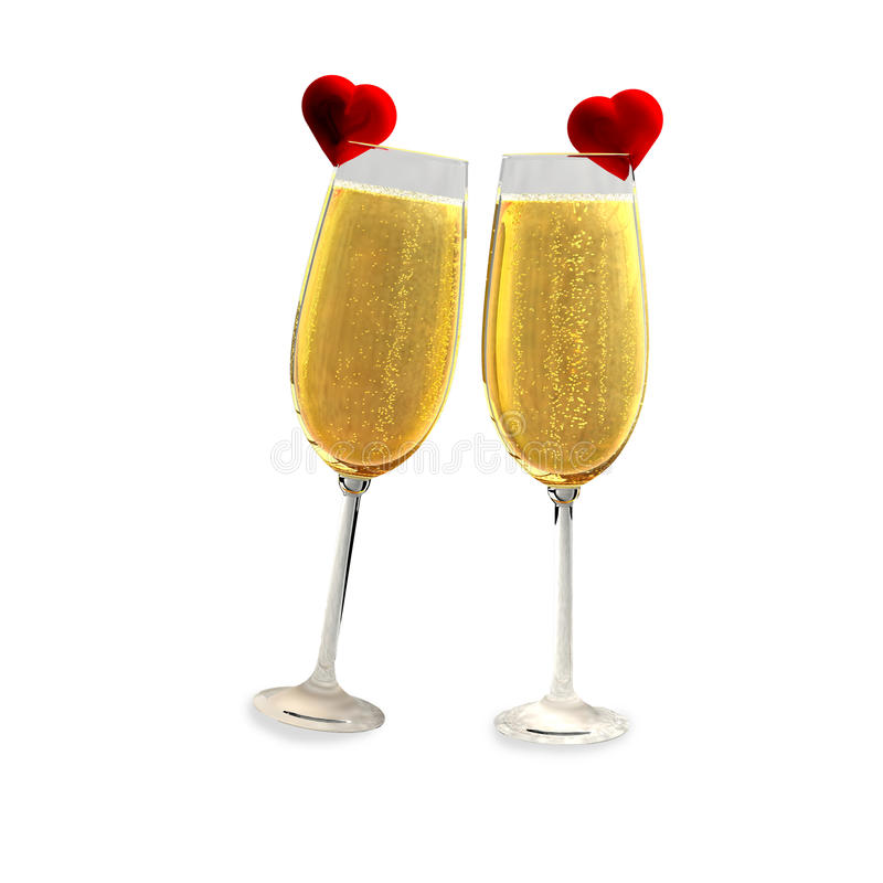 Deux verres de champagne avec deux coeurs rouges illustration libre de droits
