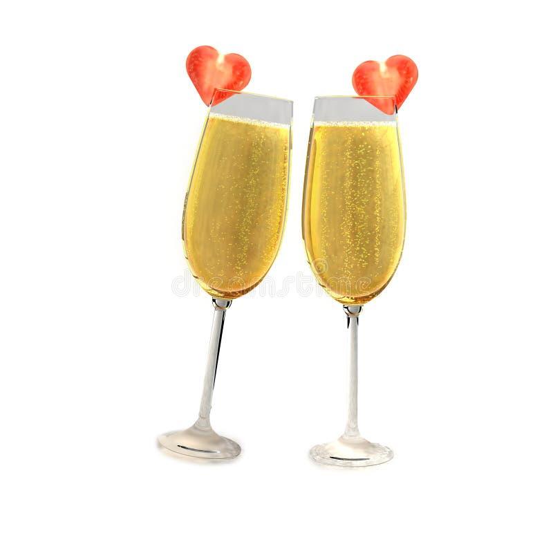 Deux verres de champagne avec deux tomates illustration stock