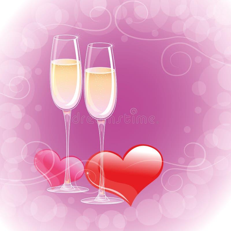Deux verres de champagne avec les coeurs rouges illustration libre de droits