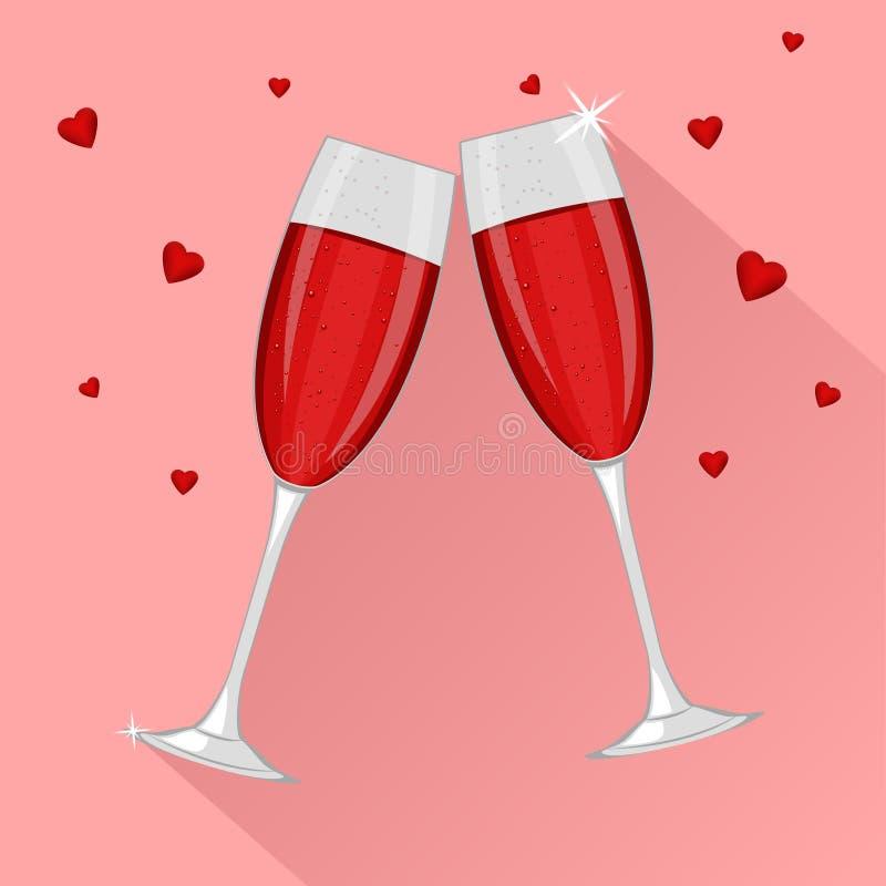 Deux verres de champagne rouge pour le jour ou le 8 mars de valentines de saint d'isolement sur le fond rose illustration stock