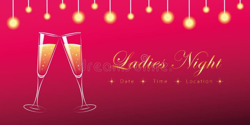 Deux verres de nuit de dames de champagne illustration stock