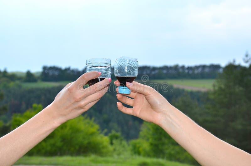 Deux verres de vin coupés d'une petite bouteille images stock