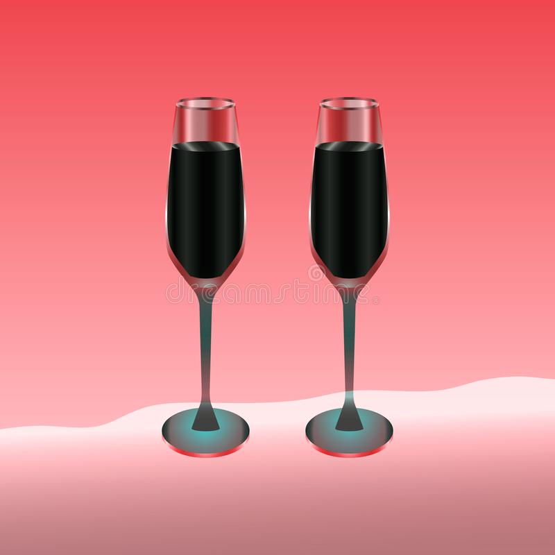 Deux verres de vin remplis de boisson rouge sur le rouge illustration de vecteur