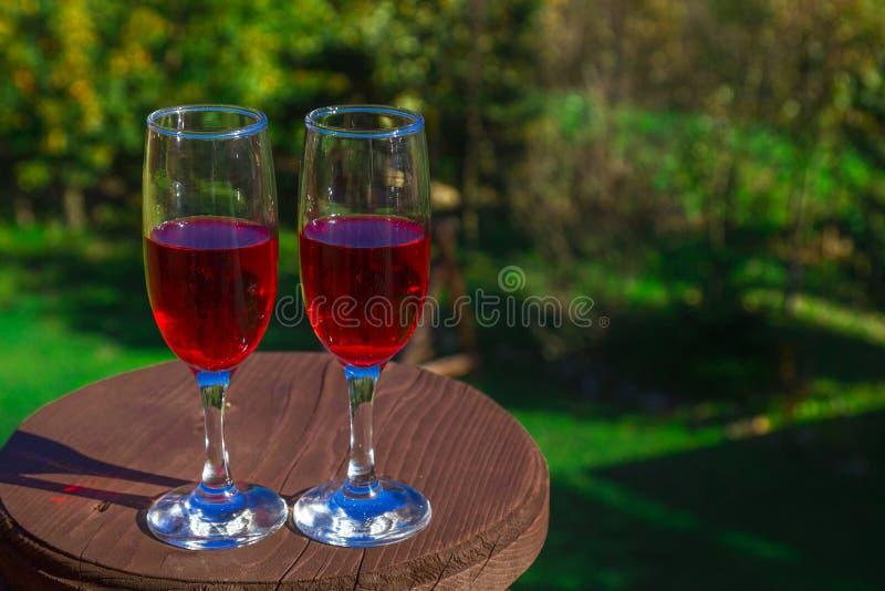 Deux verres de vin rouge sur le fond de la nature photos stock