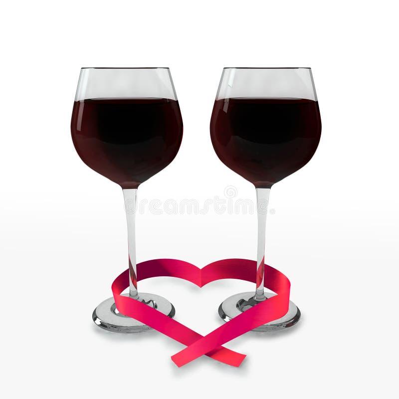 Deux verres du bon vin rouge et d'un ruban en forme de coeur illustration de vecteur