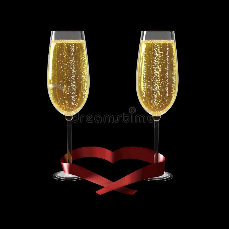 Deux verres du bon vin rouge et d'un ruban en forme de coeur illustration stock
