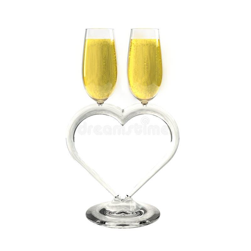 Deux verres du bon vin rouge et d'un ruban en forme de coeur illustration libre de droits