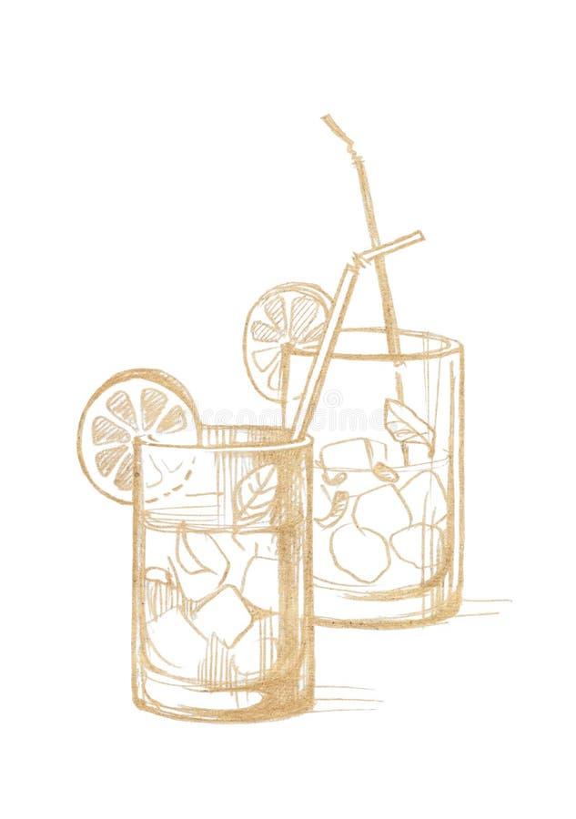 Deux verres en verre avec de la glace, le citron, les feuilles en bon état et les tubes de cocktail illustration de vecteur