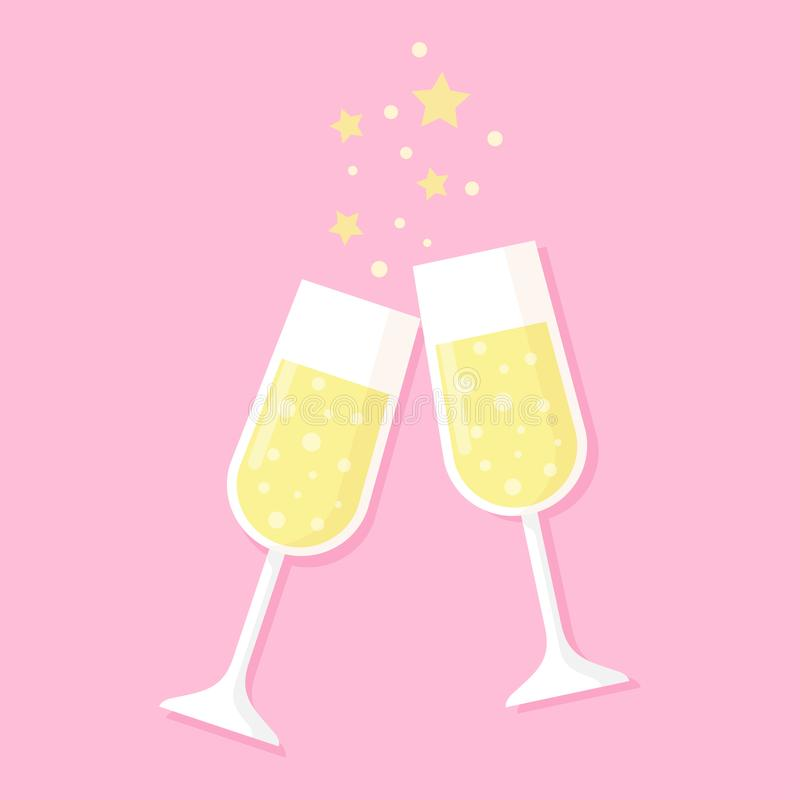 Deux verres pleins du champagne d'isolement sur le rose illustration stock