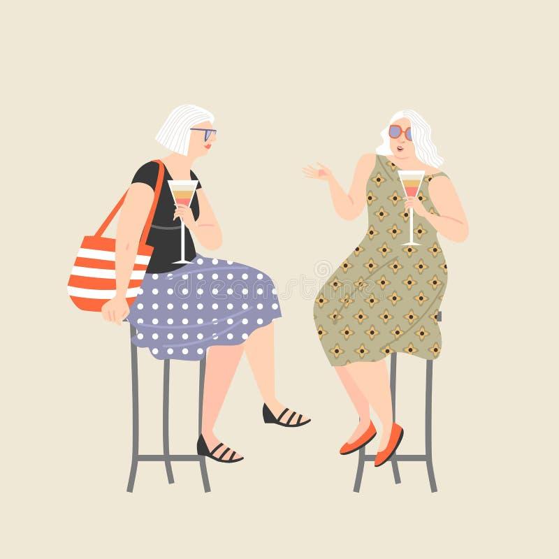 Deux vieilles dames buvant le vin et la causerie Style de vie actif illustration de vecteur