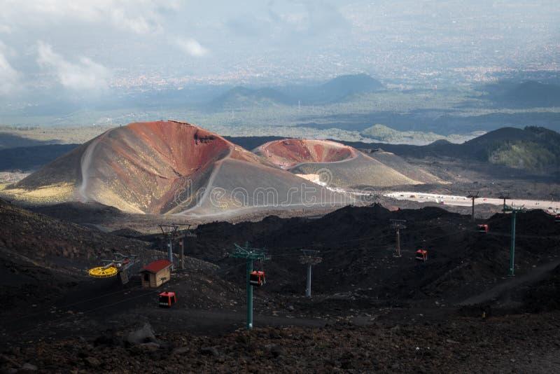 Deux vieux et volcans colorés près de volcan l'Etna photos libres de droits