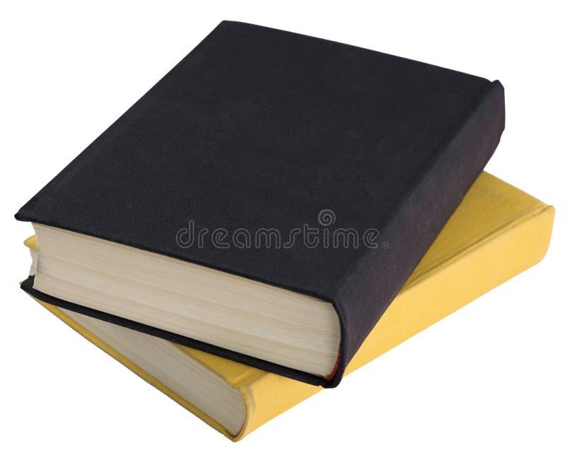 Deux vieux grands livres sur un fond blanc image libre de droits