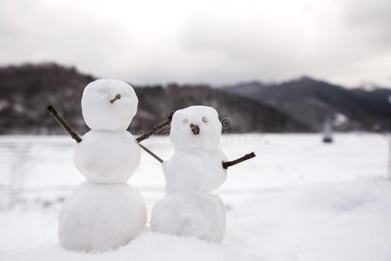 Authentification Kizuna Encounter Deux-vrais-bonhommes-de-neige-minuscules-et-petits-en-nature-dans-le-jour-neigeux-froid-montagnes-137291312