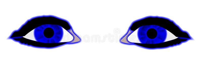 Deux yeux comiques bleus de style au-dessus de blanc illustration stock