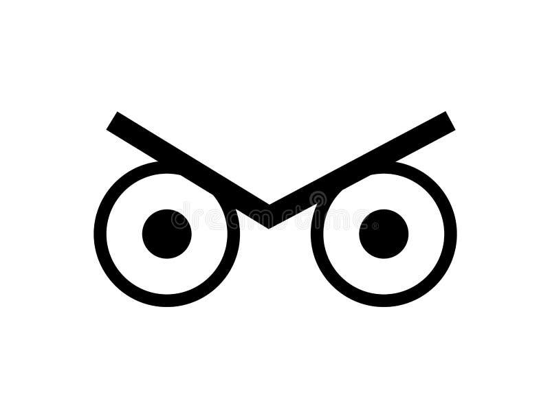 Deux yeux fâchés et un regard fixe de froncement de sourcils illustration stock