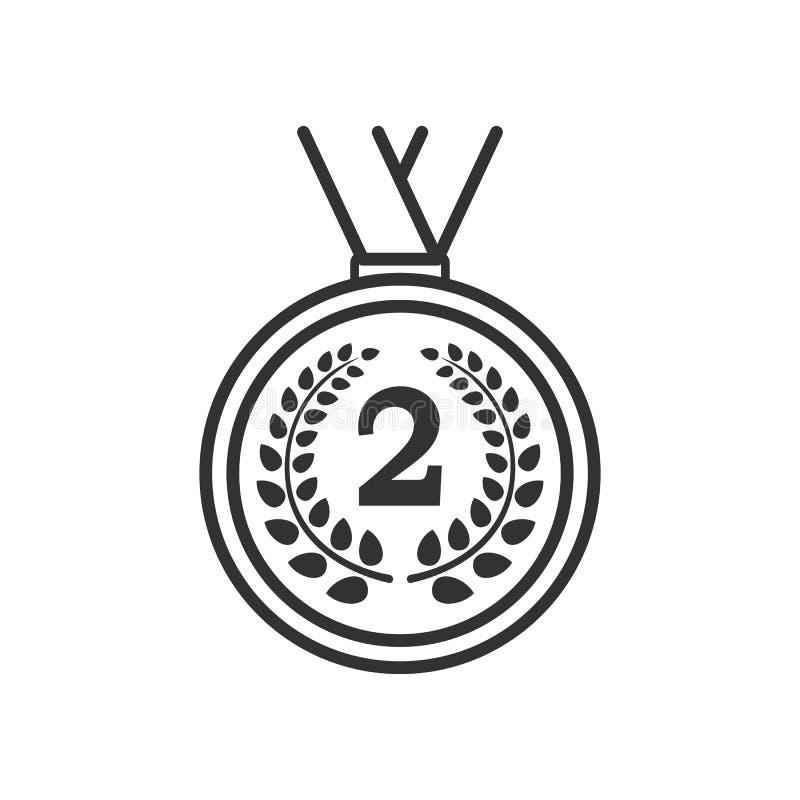 Deuxième icône d'ensemble de médaille d'endroit sur le blanc illustration libre de droits