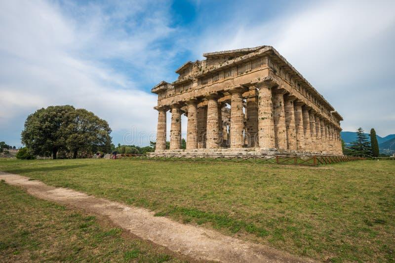 Deuxième temple de Hera chez Paestum, Campanie, Italie photo libre de droits