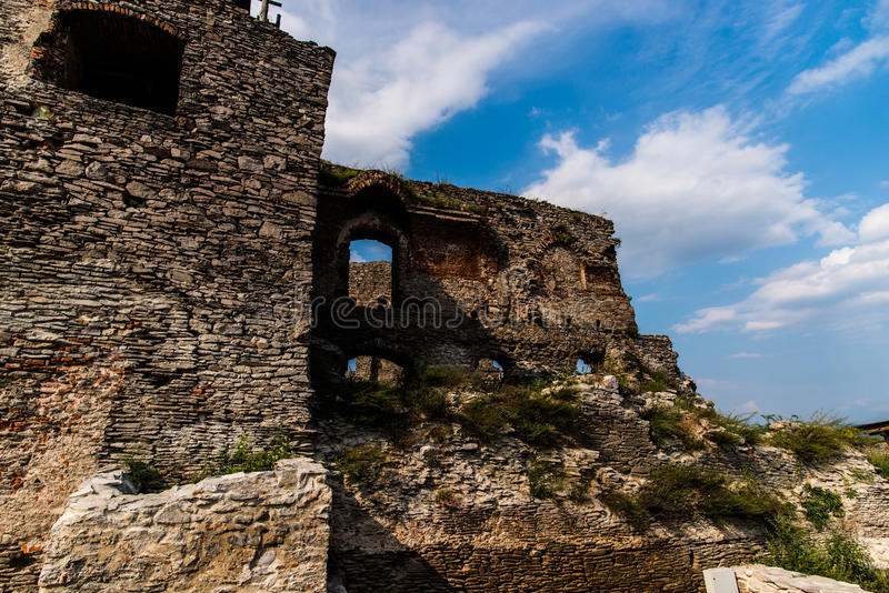 Deva citadell. Deva Fortress, built in the mid-thirteenth century at the top of the Fortress Hill, on the place of a Dacian settlement, Romania, Europe stock photography