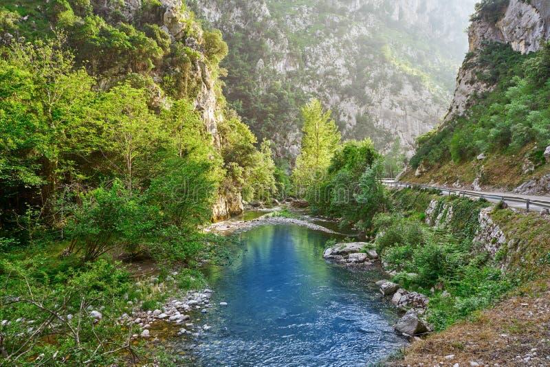 Deva rzeka w Cantabria Hiszpania obraz stock