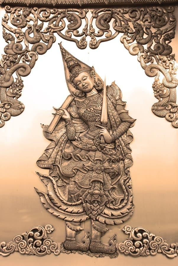Deva sztuki reliefowa praca w sepiowym brzmieniu zdjęcia royalty free