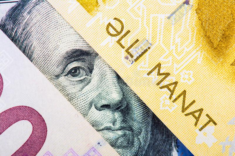 Devaluation of manat. Devaluation of national currency of Azerbaijan stock photography