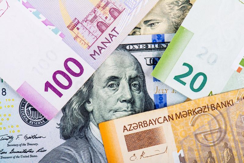 Devaluation of manat. Devaluation of national currency in Azerbaijan stock image