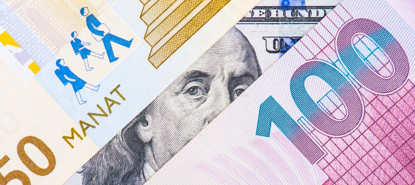 Devaluation of manat, exchange. Devaluation of national currency of Azerbaijan stock photo