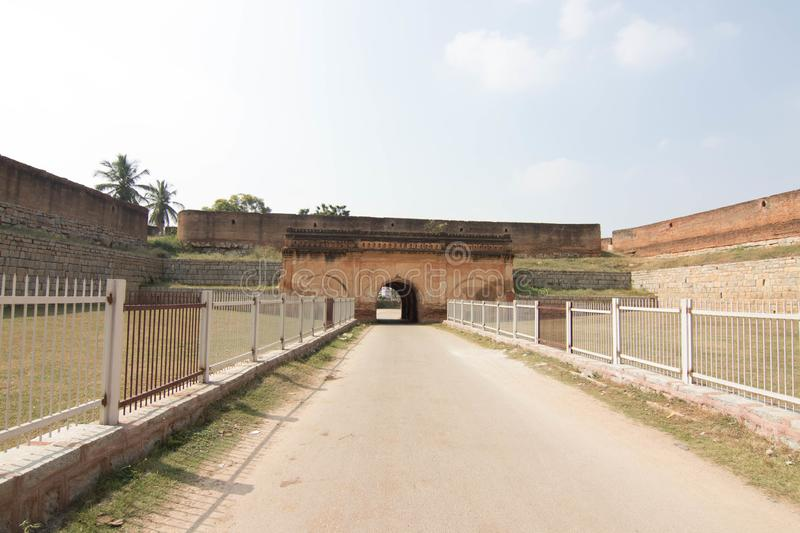 Devanahalli fort entrance at bangalore city sightseeing. Beautiful landscape with devanahalli fort at Bangalore city india tourist spot and sightseeing places royalty free stock photo