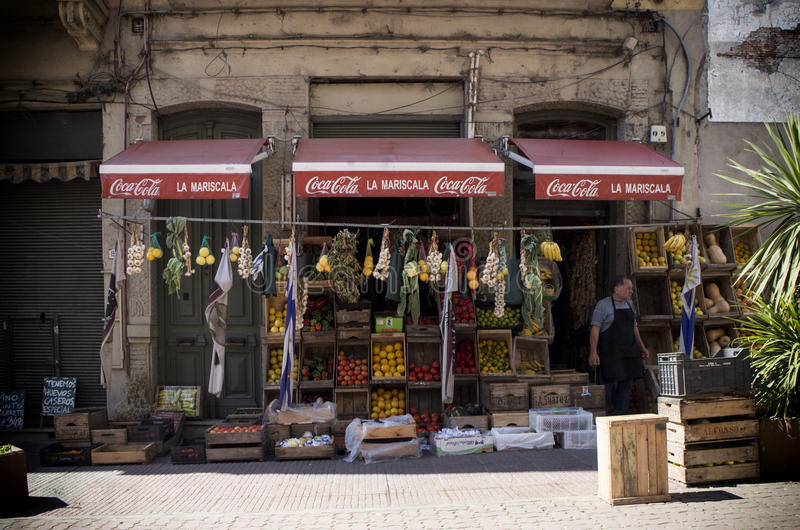 Devanture de magasin du marché et support de produit photo libre de droits
