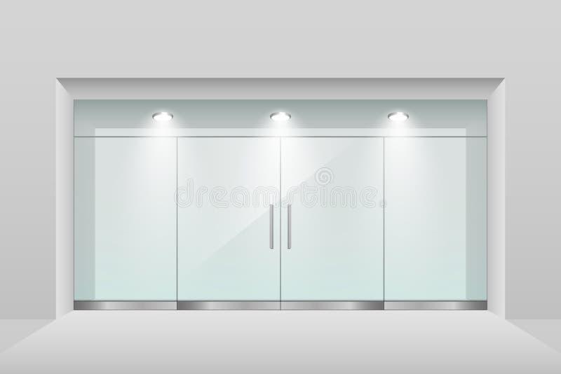 Devanture de magasin vide avec l'éclairage de plafond et la porte à deux battants en verre illustration stock