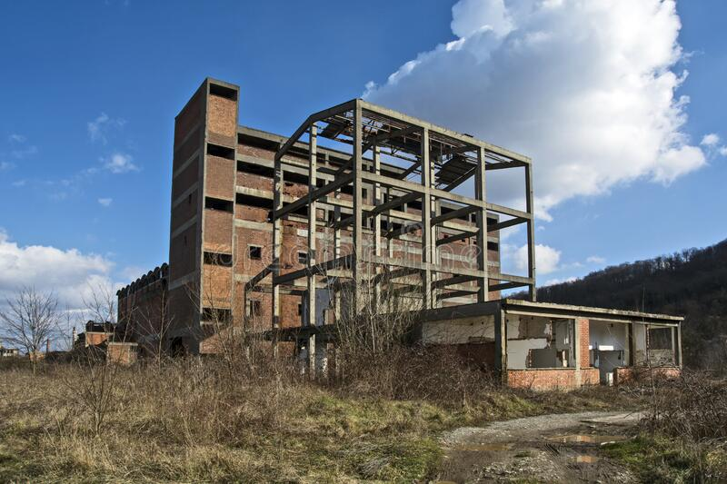 Devastated factory. Devastated viscose factory in Serbia in the town of Loznica. Once a leader and a powerful factory, the collapse of Yugoslavia completely stock photos