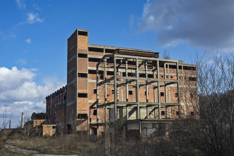 Devastated factory. Devastated viscose factory in Serbia in the town of Loznica. Once a leader and a powerful factory, the collapse of Yugoslavia completely royalty free stock image