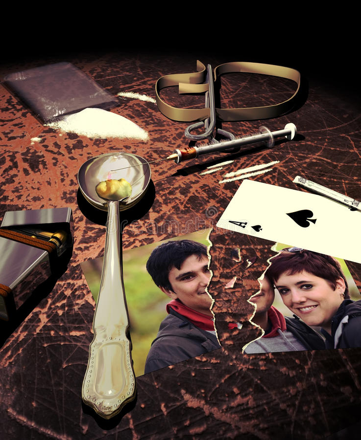 The devastation of drugs. On a wooden table, a bag with cocaine, some cocaine spread on the table, a spoon, a lighter and a syringe, signs indicating that a drug