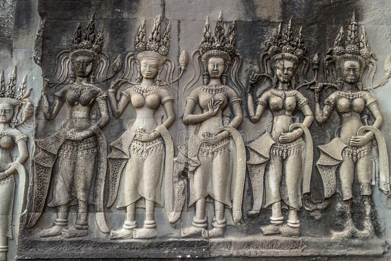 Devatas Één van vele bashulp in Angkor Wat Temple De stad in van Siem oogst, Kambodja stock foto
