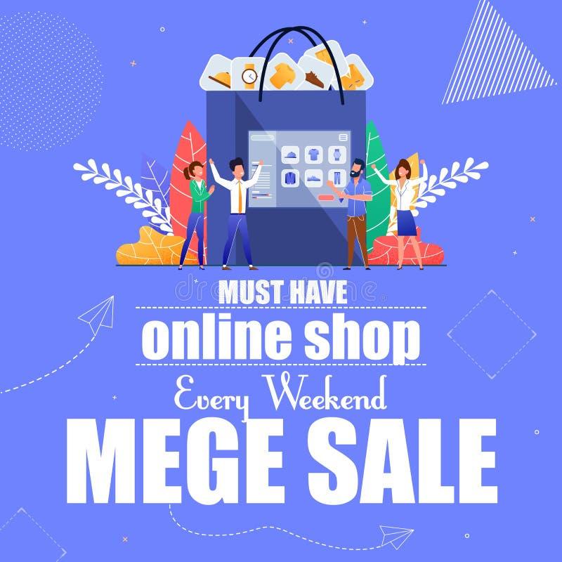 Deve avere negozio online ogni vendita mega di fine settimana royalty illustrazione gratis