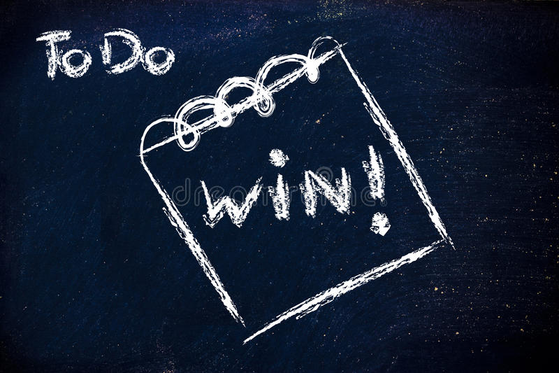 Deve ganhar, a mensagem no memorando no quadro-negro fotos de stock royalty free
